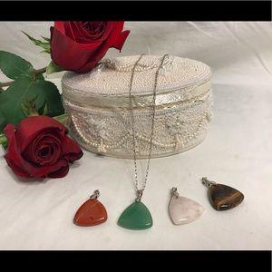 Jewelry - 🔆 Triangular stone pendants 925 necklace set
